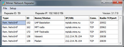 NetworkRepeater status window