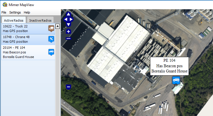 Map View with satellite photo over an industry