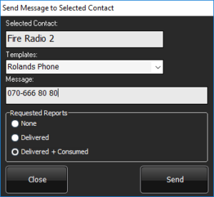 Send SDS message menu