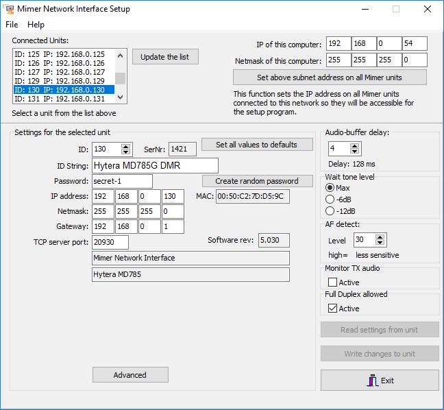 Mimer Network Interface Setup