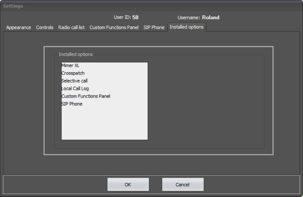 SoftRadio Settings - Installed Options