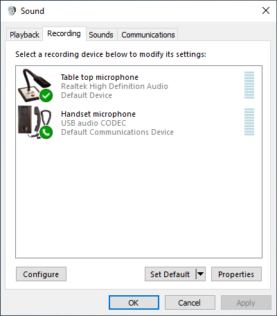 Microphone settings in Windows (Recording)