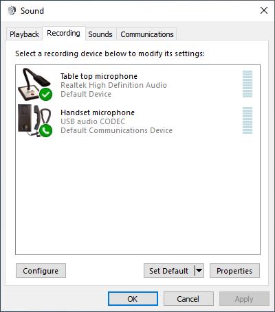 Microphone settings in Windows (Recording)