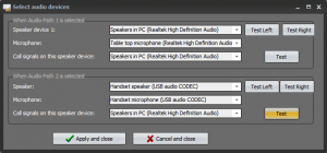 "Set up of audio accessories in ""Mimer Connections Setup"""