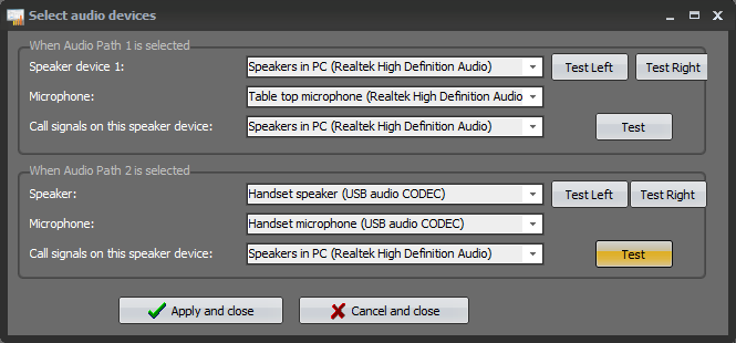 """Set up of audio accessories in """"Mimer Connections Setup"""""""