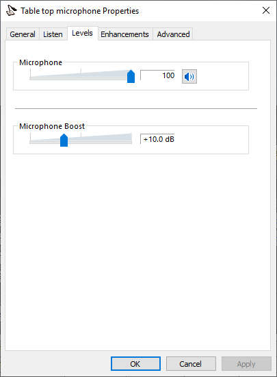 Microphone levels setting in Windows