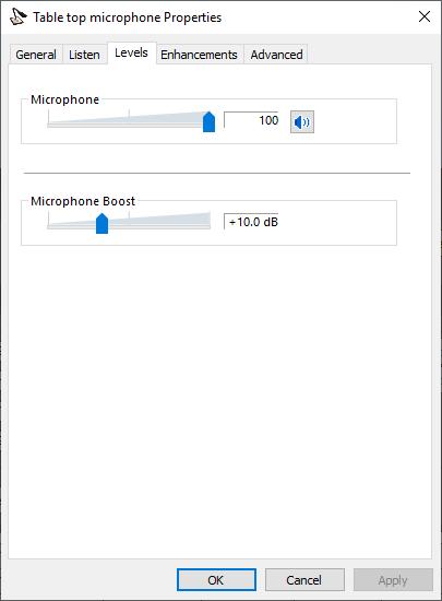 Microphone levels setting in Windows