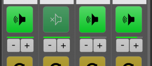 Setting with one speaker button and separate volume controls