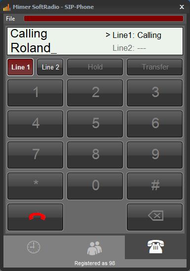 Number pad for phone calls