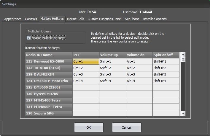 SoftRadio Settings - Multiple Hotkeys