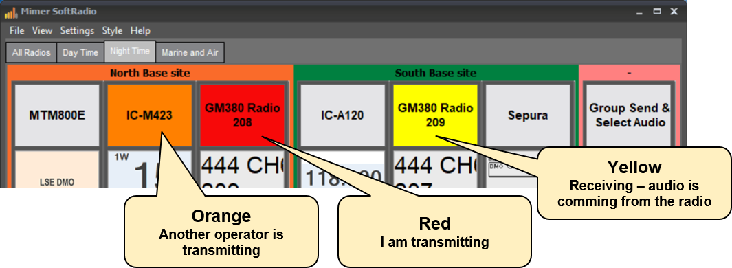 SoftRadio colour indicators